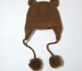 Kitty Ear Flap Hat - Handmade Winter Crochet Cat Hat for Children and Women - 5 colors