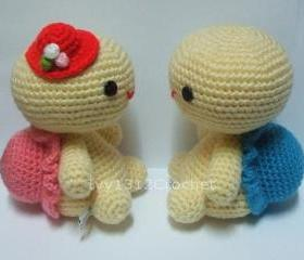Turtle Couple - Finished Handmade Amigurumi crochet doll Valentine gift Baby shower gift (Price for each item)