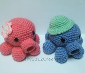 Octopus - Finished Handmade Amigurumi crochet doll Home decor birthday gift Baby shower toy (Price for each item)