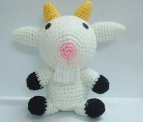 White Goat - Finished Handmade Amigurumi crochet doll Home decor birthday gift Baby shower toy