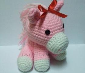Ribbon Horse 5.9' - Handmade Amigurumi crochet doll Home decor birthday gift Baby shower toy