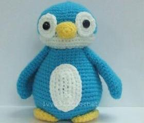 Blue Penguin 6.9' - Finished Handmade Amigurumi crochet doll Home decor birthday Baby shower gift