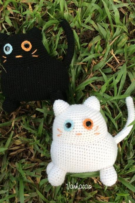 Black and White Cat - Handmade Amigurumi crochet doll Home decor birthday gift Baby shower toy (Price for each item)