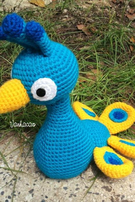 Blue Peacock - Handmade Amigurumi Crochet Doll Home Decor Birthday Gift Baby Shower Toy