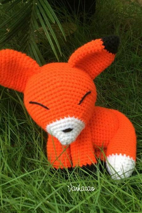 Orange Fox - Handmade Handcrafted Crocheted Amigurumi Christmas Children Birthday Baby Shower Gift