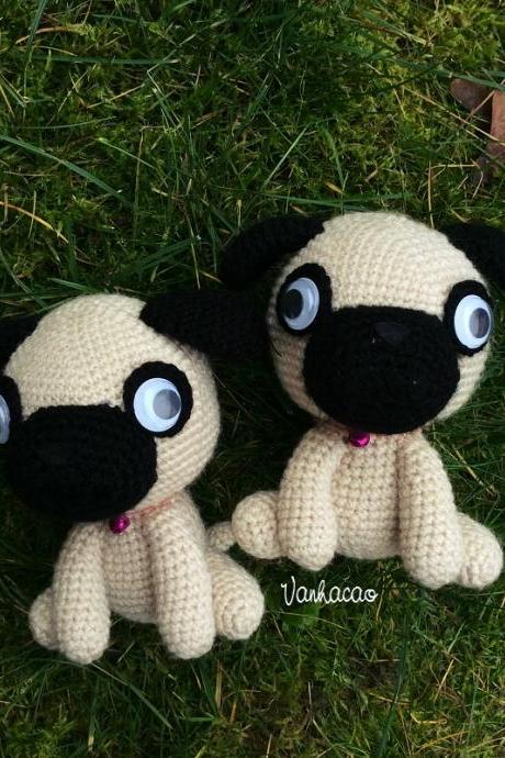 Little Pug - Handmade Handcrafted Crocheted Amigurumi Children Birthday Baby Shower Soft Toy Gift (Price for one item)