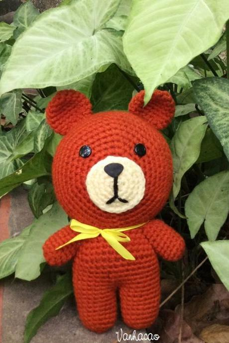 Brown Bear - Finished Handmade Crocheted Amigurumi Birthday Children Christmas Baby Shower Gift
