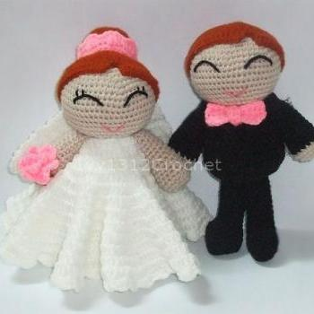 Wedding Bride / Groom - Finished Handmade Amigurumi crochet doll Valentine wedding bridal gift (Price for each item)